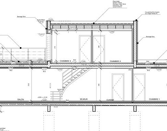 Plan de maison contemporaine gratuit - Plan de coupe maison ...